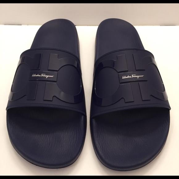 684c8a80d SALVATORE FERRAGAMO Groove 2 Slide Sandal Navy 10.  M_5b10830731a376dfd6c942f1